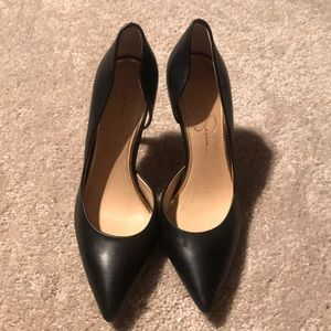 Black leather pointed heels